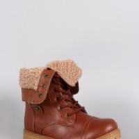 Shearling Foldover Cuff Lug Sole Combat Boots