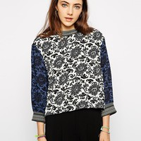 Native Rose High Neck Top in Print - Multi