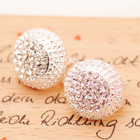 SHINING ROUND RHINESTONE EARRINGS