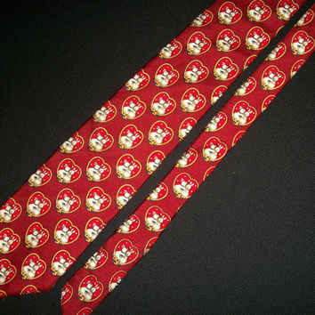 Vintage Brooks Brothers Tie Makers 100% Silk Red Hearts Bunny Rabbits Kissing Mens Prints Novelty Cartoon Floral Necktie Designer Name Brand
