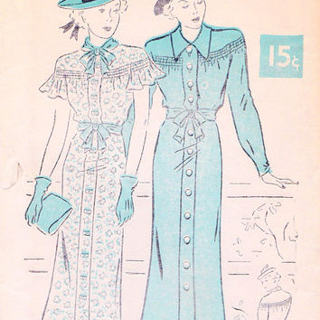 "1930s Front Closing Dress Vintage Sewing Pattern, New York 695 Bust 34"" uncut"