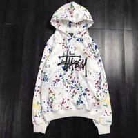 Stussy Fashion Colour Graffiti Sweater Pullover Hoodie
