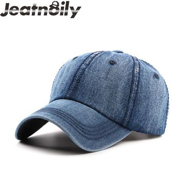Summer Denim Plain Solid Blue Jeans Baseball Hat Cap Cowboy Girl Boy Hat Curved Ball Cap Distressed Vintage MEN WOMEN CASUAL HAT