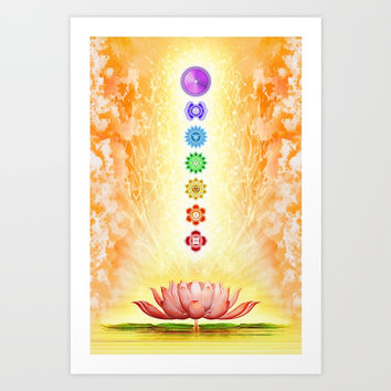 Sacred Lotus - The Seven Chakras Art Print by Dirk Czarnota