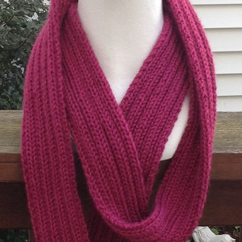 Raspberry Pink Valentine's Day Christmas Holiday Infinity Eternity Circle Knitted Fall Winter Fashion Scarf