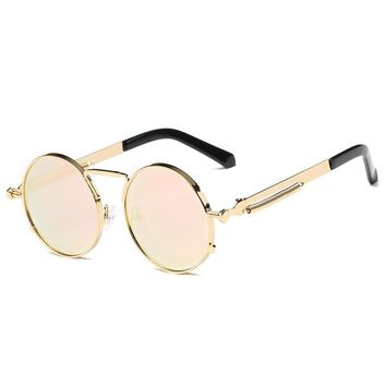 Metal Full Frame Nose Pads Round Sunglasses