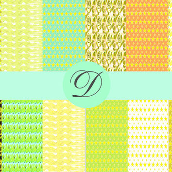 Lemon Surprise Printable Papers, Scrap Book Collage, Card Making,  Craft Supplies, Digital Supplies, ArtPaper Ephemera, Cool Colours, Lime