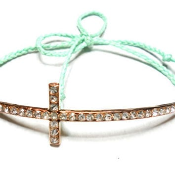 Mint Sideways cross Braided Friendship Bracelets - waxed mint colored floss gold plated rhinestones sideway cross