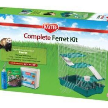 Kaytee Complete Ferret Cage Water Bottle Food Dish & Bedding Kit