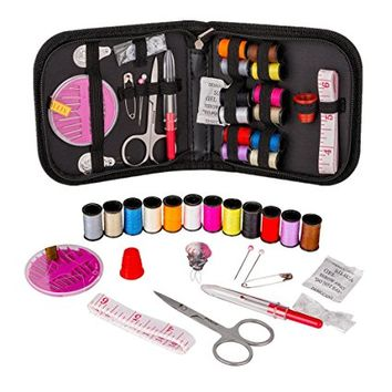 Coquimbo Mini Sewing Kit for Kids, Travel, Emergency, Sewing Supplies with Scissors, Thimble, Thread, Needles, Tape Measure, Carrying Case and Accessories