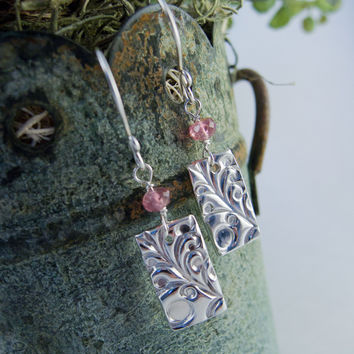 Silver and Pink Tourmaline Fine Silver Dangle Earring