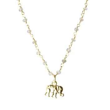 Mini Talisman Elephant Semi-Precious Stone Chain Necklace