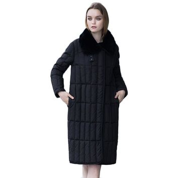 High Quality Long Solid Convertible Collar Women's Down Coat Winter 2017 New Fashion Covered Button Winter's Coats Female Y2265