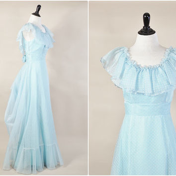sheer baby blue chiffon white velvet swiss polka dot ruffled bustle maxi prom dolly dress vintage 70s