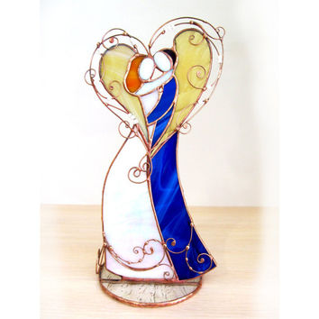 Candle Holder - statuette Lovers dancing. Gift. Stained glass. Unique gift. Personalized gift for Wedding, Anniversary, Valentine Day.
