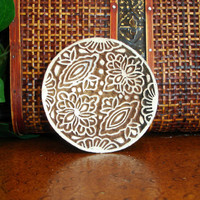 Hand Carved Wood Stamp: Flower Stamp, Indian Circle Printing Block, Round Wooden Stamp from India, for Ceramics Tile Textiles Pottery