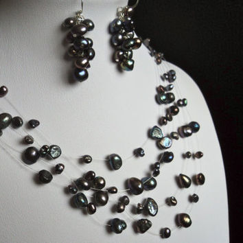 Purple Taupe Floating Pearl Necklace and Earrings by Lunarpearl