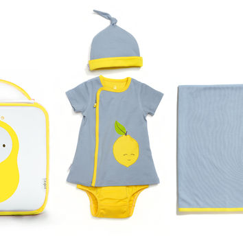 4 Piece Lemon Pocket Zipper Dress Gift Set