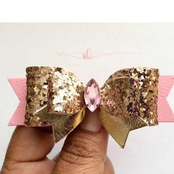 Rose Gold and pink Glitter Hair Bow,  Girls Sparkling Hair Clip, Baby Pink Leather Bow, Birthday bow with rhinestone, Birthday hair Clip