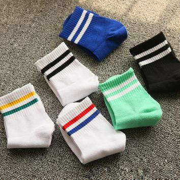 Classic Women Girls Two Stripes Cotton Socks Retro Old School Student Hiphop Skate White Harajuku Korean Hosiery Meias