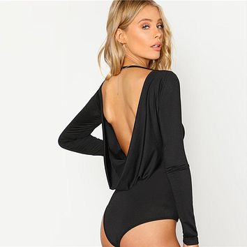 Black Backless Solid Skinny Bodysuit Round Neck Open Back Long Sleeve Draped Plain Women Rompers Sexy Bodysuit