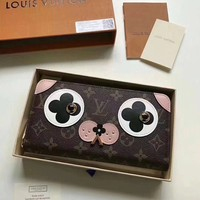 Louis Vuitton Women Leather Print Puppy Series Multicolor Wallet Purse