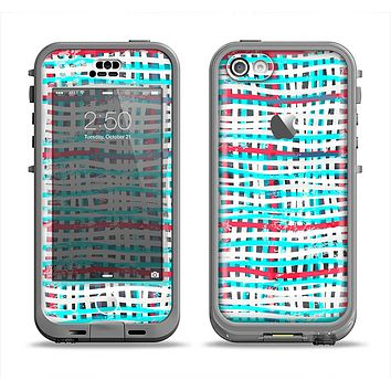 The Woven Trendy Green & Coral Apple iPhone 5c LifeProof Nuud Case Skin Set