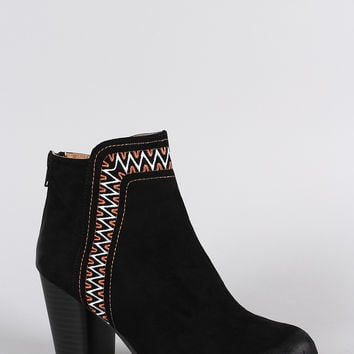 Qupid Tribal Embroidered Ankle Boots