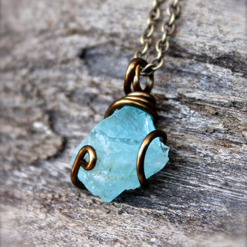 Rough Aquamarine Necklace - Raw Stone Jewelry - Natural Aquamarine Jewelry - Boho Gypsy Necklace - Gemstone Jewelry - Blue Stone Necklace