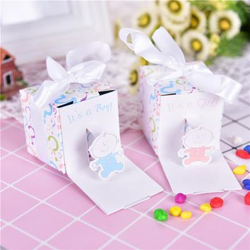 12pc/lot Baby Shower Baby Candy Box Cute Babyshower Party Boxes It's A Boy It's A Girl Printed Lovely Candy Small Gift Box NEW!
