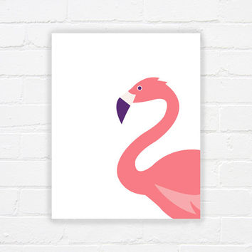 Flamingo wall art - printable flamingo art - printable poster - modern art - flamingo bedroom art - flamingo nursery art - DIGITAL DOWNLOAD
