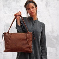 SALE 30 % OFF Leather hand bag/tote bag/women/big/oiled leather/brown color