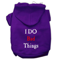I Do Bad Things Screen Print Pet Hoodies Purple Size XXXL(20)