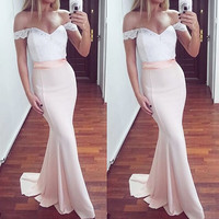 Floor Length Sheath Mmermaid Pink Prom Dresses