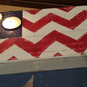 Rustic Flag Tea Light Holder Centerpiece Decor Patriotic Memorial Day Independence Day 4th of July