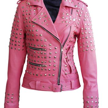 Plus Size Leather Jacket With Spike Studs Details In Pink L-3XL