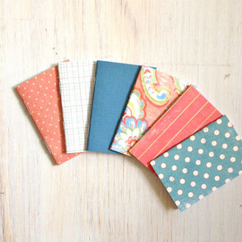 Notebooks: 6 Tiny Journal Set, Blue, Red, Wedding, Favors, Small Notebooks, For Her, For Him, Gift, Unique, Mini Journals, Party Favors T032