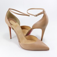 Christian Louboutin 41 EU Uptown 100mm Nude Ankle Strap Heels Sandals A509