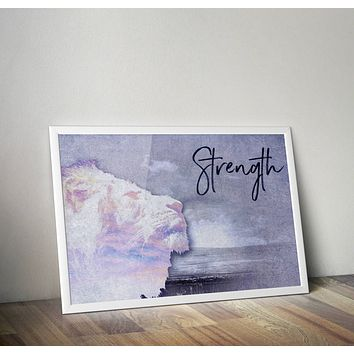 Reiki Charged Lion Strength Quote Blue Poster Bohemian Art Print Poster  Design no frame 20x30 Large