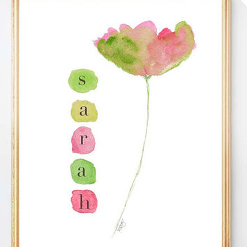 Pink and Green Nursery Art, Pink and Green Art, 8x10 Print, Tulip Print, Pink and Green Girl's Wall Decor, Hot Pink and Green Art,