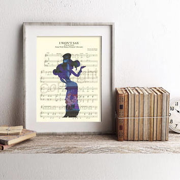 Hercules Meg Silhouette I Won't Say I'm In Love Sheet Music Art Print