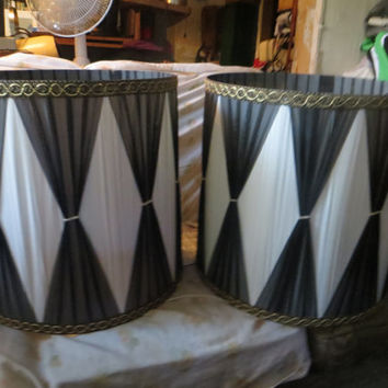 2  VINTAGE Retro  pair modern mid centuryHollywood Regency black and white  Lampshades   drum table  LAMP Shades