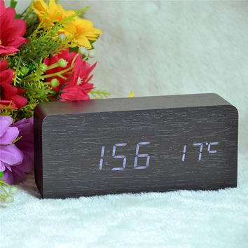 Wooden LED Digital Alarm Clock with Temperature Calendars Display Sounds Control Function electronic desktop digital desk clock