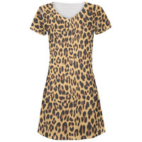 Cheetah Print All Over Juniors V-Neck Dress