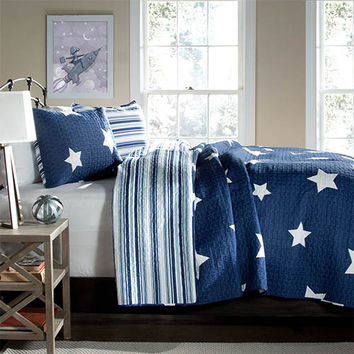 Lush Decor C22788P14-000 Star Navy Three-Piece King Quilt Set - (In No Image Available)
