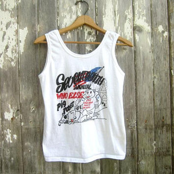 80s Tank Top White Vintage Tee Hipster Grunge Beach Surfer Shirt 1980s Retro Who Else Pig Roast Tank Unisex Size Small