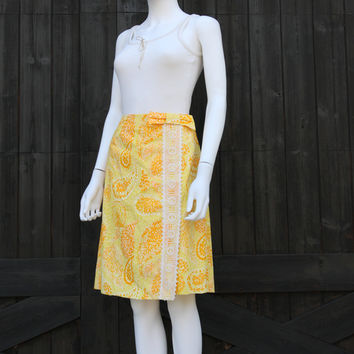 Vintage 60s 70s The Lilly Pulitzer Citrus Yellow Palm Beach Prep Skirt