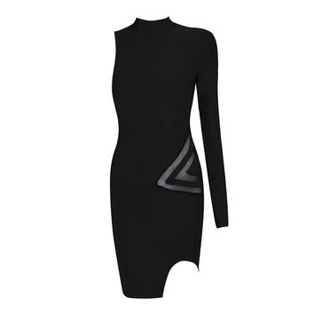 Posh Girl Black Asymmetrical Bandage Dress