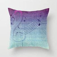 blue purple music grunge sounds Throw Pillow by Webgrrl