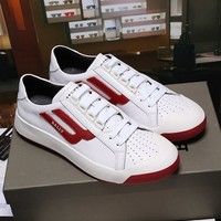 Bally The New Competition Men's Deer Leather Trainer In White Red Sneakers Shoes - Best Online Sale